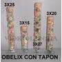 4 Tubos C/base De Vidrio C/tapon Candy Bar Souveniers Obelix