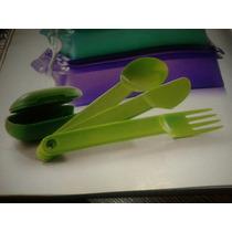 Porta Cubiertos Con Cubiertos Verdes Tupperware