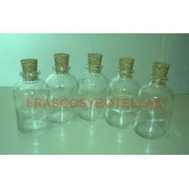 Frascos-botellas De Vidrio 30 Cc Con Corcho X 15 Unidades