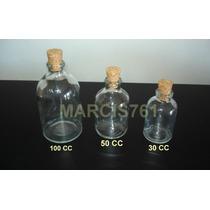 Botellas / Frascos De Vidrio 100 Cc Con Corcho X 40 Unidades