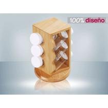 Especiero Bambu Giratorio 6 Frascos Vidrio Tapa Plastica