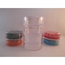 50 Envases Cilíndricos De Plástico Cristal