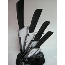 Set Juego 4 Cuchillos Hoja Ceramica Mango Silicona Pelapapa