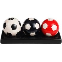 Salero Y Pimentero 3 Pelotas De Futbol Soccer Con Bandeja
