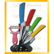Kit 4 Cuchillos De Ceramica +pelapapas+soporte Antideslizant