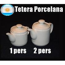Tetera X3 Porcelana Loza Cafetera Vajilla Blanca Grande Chic