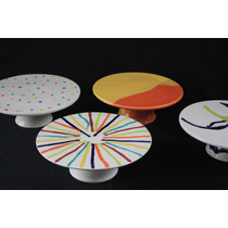 Posa Tortas/porta Cupcakes Pie Alzada Ceramica Plato Bandeja