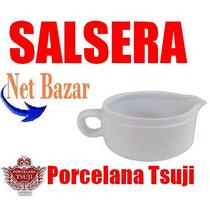 Salsera Tsuji Blanca Recta Lisa Bar Porcelana Salsa Juego