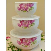 Set De 3 Bowls De Cerámica Con Tapa Microondas Diseño Shabby