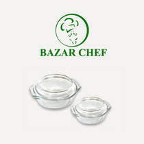 Bowl Redondo Tapa Vidrio 24x20 Cm - Bazar Chef