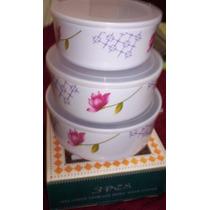 3 Bowls Hermetico Tapa Transpar Melamina Freezer / Microonda