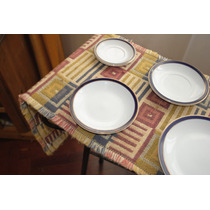 Platos De Porcelana Tsuji Con Filete Azul Y Dorado