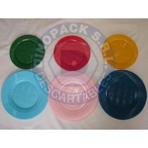 Platos Plasticos Descartables 22cm. X 50un. Colores