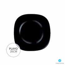 Plato Playo Luminarc Carine Noir 26cm Vidrio Templado X6u