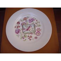 Plato De Porcelana Para Torta O Masas Pajarito Y Flores