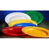 Platos Plasticos Descartables 17cm. X 50un. De Colores.