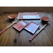 Set Sushi Para Dos 9 Piezas Cerámica Artesanal Hecho A Mano
