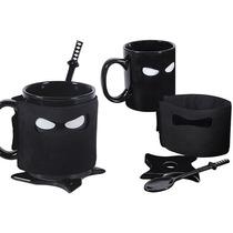 Taza Con Mascara Ninja Con Cuchara Katana Base Shuriken