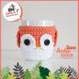 Taza Ceramica Blanca Lechuza Crochet Algodón
