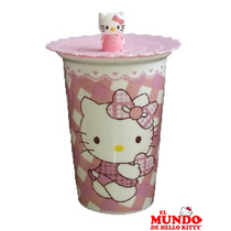 Vaso/taza C/tapa De Silicona Kitty - El Mundo De Hello Kitty