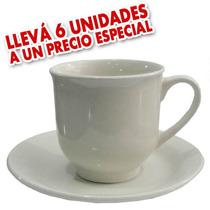 Set X6 Tazas Con Platos 240 Ml Porcelana Desayuno Te Cafe