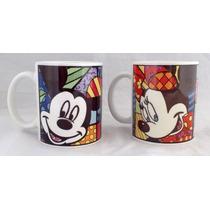 Romero Britto - Disney - Mickey - Minnie Juego De 2 Tazas
