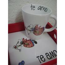 Desayuno Dia De Los Enamorados Taza Y Bandeja San Valentin