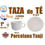 Taza Te Tsuji Oro Dorada Desayuno Plato Porcelana Blanca