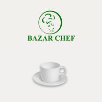 Taza Te + Plato Melamina Blanca - Bazar Chef