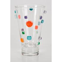 Vasos De Vidrio Con Aplicaciones De Colores Varios