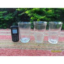 Lote De 3 Antiguos Vasos De Vidrio, Tipo Bar Almacen