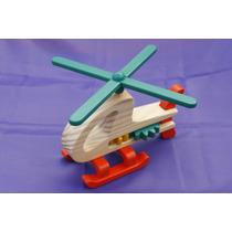 Helicóptero De Madera - Juguete Artesanal Con Movimiento