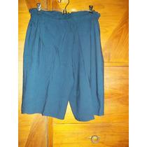 Short Bermudas Dama Talle L O 3 Amplio Fibrana Azul Marino