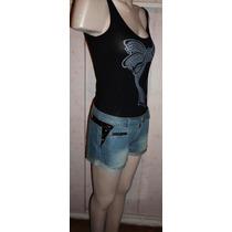 Sexy Short Jean C Símil Cuero Y Tachas Vs Bolsillos Original