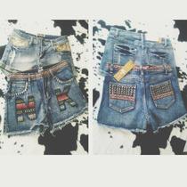 Short De Jeans Bordado Y Detalles De Tachas Talle M