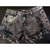 Shorts De Jean Importados C/tachas Shorts C/apliques Oferta!