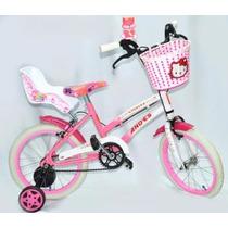Bicicleta Hello Kitty Princesa Rod16 Nena Rueditas Canasto
