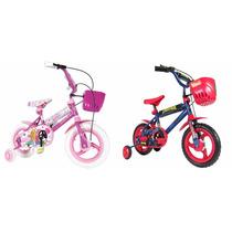 Bicicletas Barbie / Spiderman Rod. 12 + Canasto Nuevas !!!