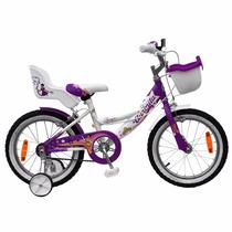 Bicicleta Aurora Princesa Rodado 16 Canasto, Rueditas - Nena