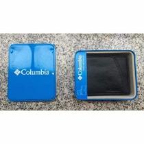 Billetera Columbia De Cuero Muy Buen Regalo Caja De Metal!
