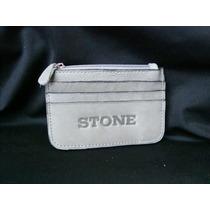 Monedero Y Porta-tarjetas De Cuero Legítimo Stone