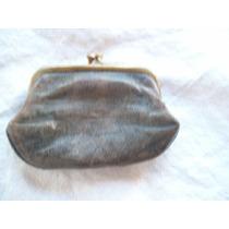 Antiguo Monederito De Cuero Y Bronce