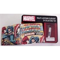 Billetera Cuero Marvel Capitan America, Llavero De Colección