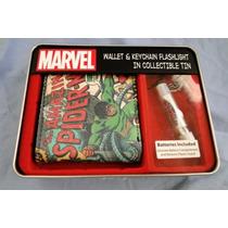 Billetera Cuero Marvel Spiderman Con Llavero De Colección!!!
