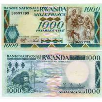 Billete Rwanda 1.000 Francos Año 1988 A Mitad De Su Valor!!!
