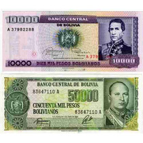 2 Billetes De Bolivia Sobrecargados Año 1987 Sin Circular