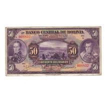 Raro Billete De Bolivia 50 Bolivianos 1928 Reverso Rojo !!