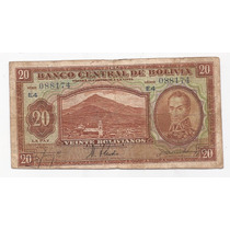 Bolivia Billete Con Error De 20 Bolivianos 1928 Pick 131 !!
