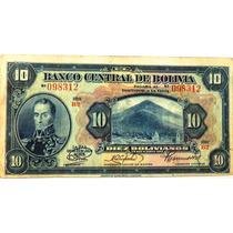 Billete De Bolivia - 10 Bolivianos - 1928 - En Mendoza