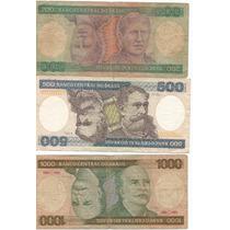 Brasil Lote De 3 Billetes 200,500 Y Mil Cruzeiros